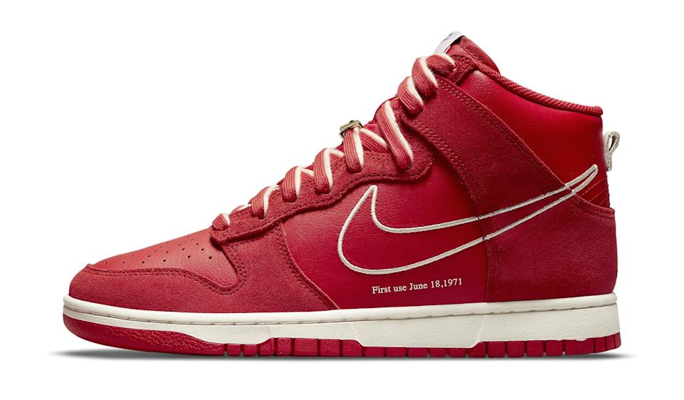 """The lateral side of the Nike Dunk High """"First Use."""" - Credit: Courtesy of Nike"""