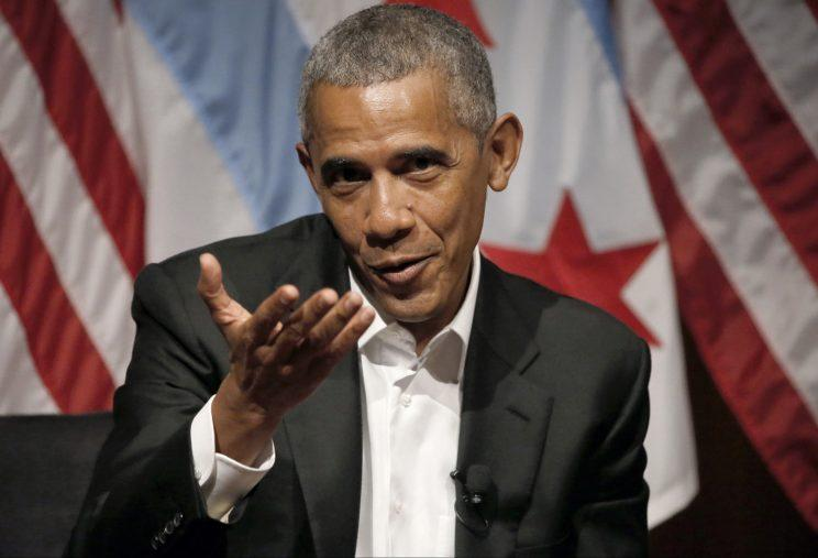 Obama leads a panel discussion at the the University of Chicago on Monday. (Charles Rex Arbogast/AP)