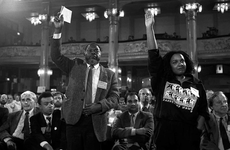 MPs Bernie Grant and Diane Abbott pictured in 1988 during a debate on the creation of separate Black sections within the Labour Party at the party's annual conference in Blackpool (Photo: PA Images via Getty Images)
