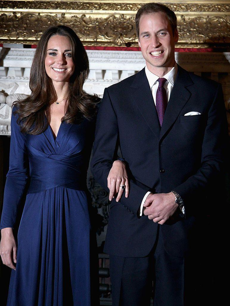 <p>Prince William proposes to Kate Middleton with his mother's famous sapphire-and-diamond ring on October 20. They make the official announcement in an appearance on November 16. </p>
