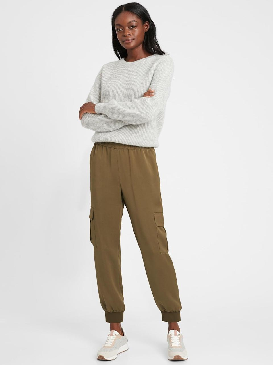 <p>These <span>Banana Republic Satin Cargo Jogger</span> ($49, originally $90) are perfect with a blazer, turtleneck and loafers. </p>