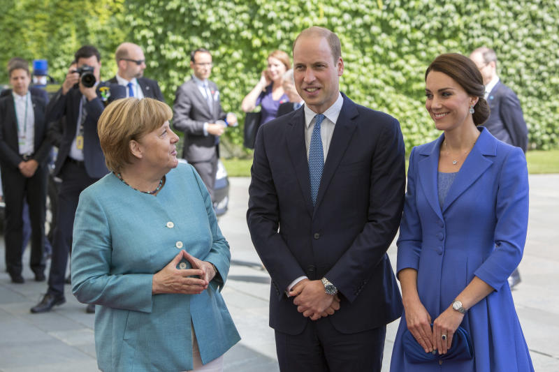 German Chancellor Angela Merkel welcomes Prince William, Duke of Cambridge and Catherine, the Duchess of Cambridge in the German Chancellery in Berlin on July 19. (NurPhoto via Getty Images)