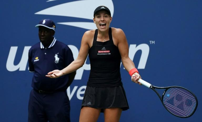 Not working: Wimbledon champion Angelique Kerber falls to Dominika Cibulkova in the third round of the US Open on Saturday