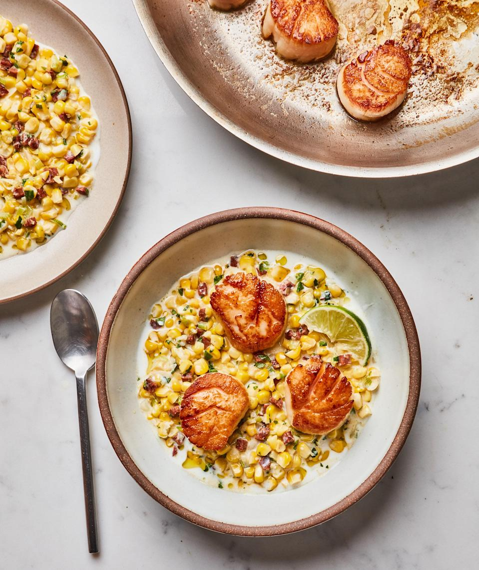 """Treat scallops to the flavorful oil left behind when you cook chorizo—it's basically liquid gold. <a href=""""https://www.bonappetit.com/recipe/pan-seared-scallops-with-chorizo-and-corn?mbid=synd_yahoo_rss"""" rel=""""nofollow noopener"""" target=""""_blank"""" data-ylk=""""slk:See recipe."""" class=""""link rapid-noclick-resp"""">See recipe.</a>"""