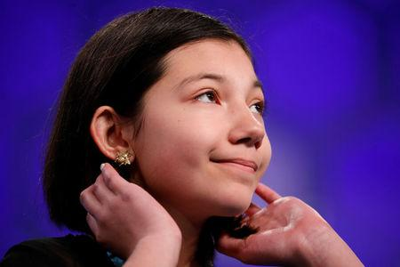 Melodie Loya looks upward as she tries to spell a word during the Scripps National Spelling Bee at National Harbor in Oxon Hill Maryland U.S
