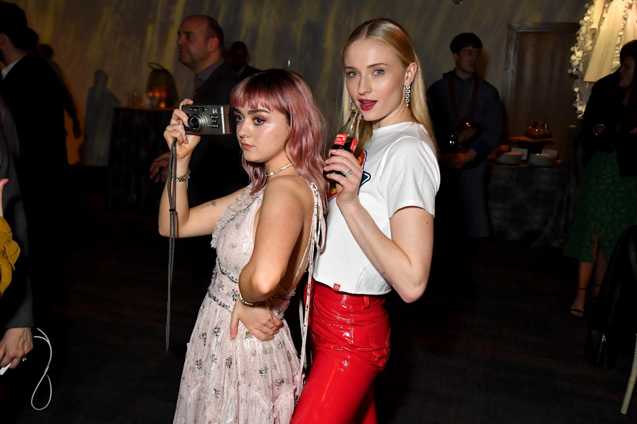"""Maisie Williams, Sophie Turner at the """"Game of Thrones"""" season finale premiere at the Waterfront Hall on April 12, 2019 in Belfast, Northern Ireland."""