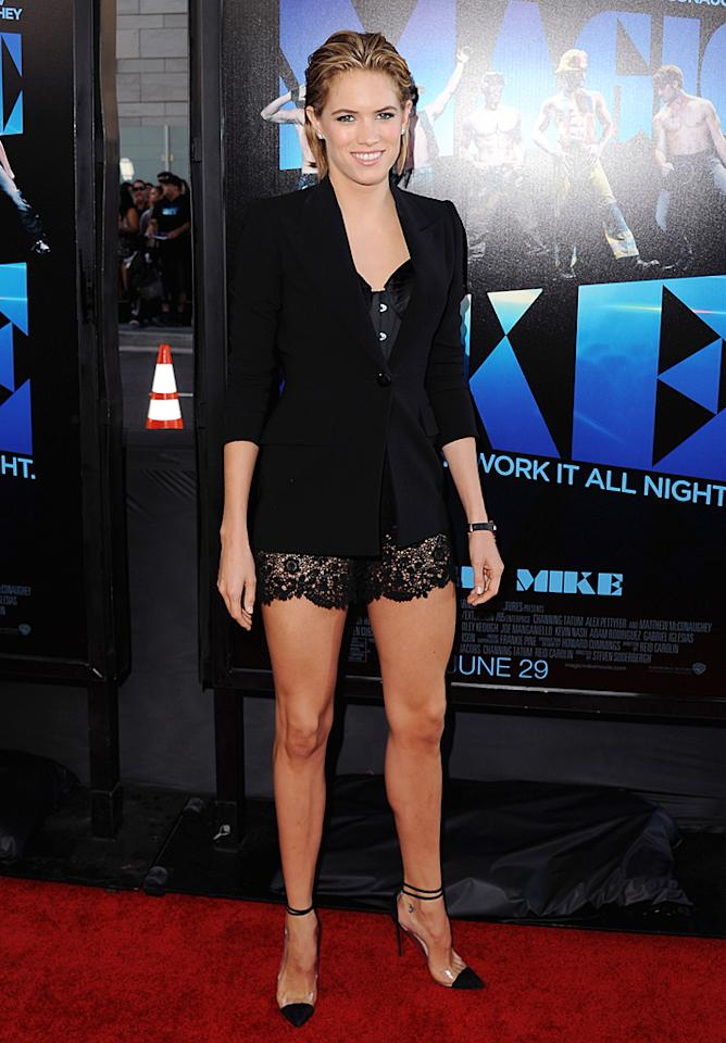 "Meanwhile, at the <a target=""_blank"" href=""http://movies.yahoo.com/movie/magic-mike/"">""Magic Mike""</a> premiere, ""Rescue Me"" alum Cody Horn turned heads in a slicked-back 'do and fierce Jean Paul Gaultier ensemble, which consisted of a black blazer, sexy corset, and barely-there lace shorts. Diamond studs and $800 Louboutin ""Bis Un Bout"" pumps made for the perfect accessories.<br>(6/24/2012)"