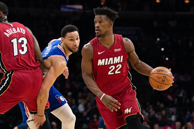 76ers fans relentlessly booed Jimmy Butler as the Heat handed Philadelphia its first home loss of the season. (Bill Streicher/Reuters)