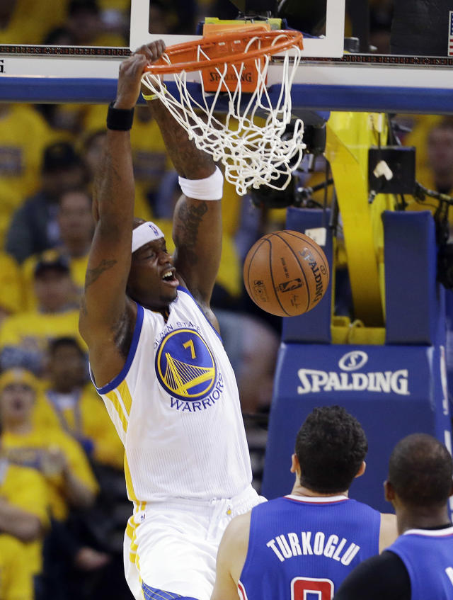 Golden State Warriors' Jermaine O'Neal (7) dunks against the Los Angeles Clippers during the first half in Game 4 of an opening-round NBA basketball playoff series on Sunday, April 27, 2014, in Oakland, Calif. (AP Photo/Marcio Jose Sanchez)