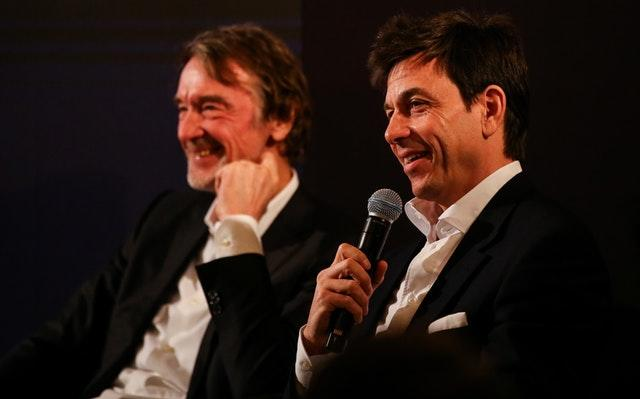 Toto Wolff, right, and INEOS chairman Sir Jim Ratcliffe speaking at the Royal Automobile Club