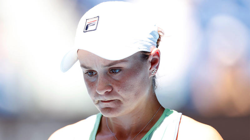 Ash Barty looking dejected after losing a point to Sofia Kenin.