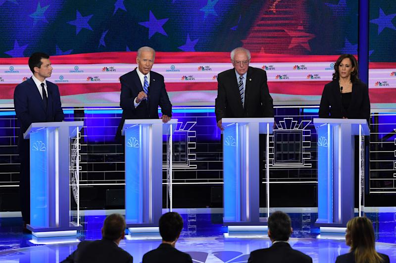From left to right, Pete Buttigieg, Joe Biden, Bernie Sanders and Kamala Harris, are among the five candidates, along with Elizabeth Warren (not pictured), raising significant sums for their presidential bids. (Photo: SAUL LOEB via Getty Images)