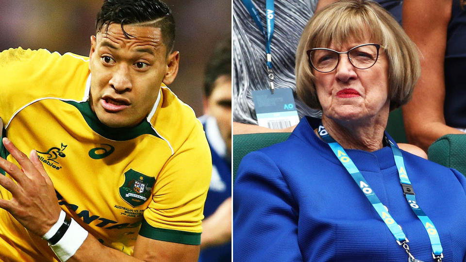 Israel Folau has received support from Margaret Court. Image: Getty