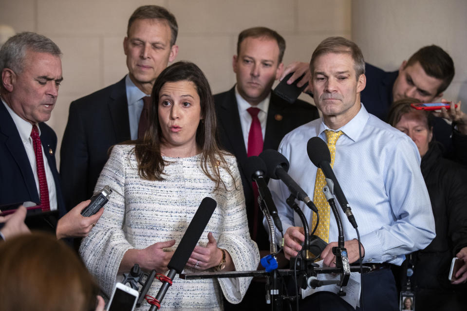 Rep. Elise Stefanik, R-N.Y., front left, Rep. Jim Jordan, R-Ohio, right, and other Republican members of the House Intelligence Committee, speak to members of the media as they conclude the testimony of U.S. Ambassador to the European Union Gordon Sondland, during a public impeachment hearing of President Donald Trump's efforts to tie U.S. aid for Ukraine to investigations of his political opponents on Capitol Hill in Washington, Nov. 20, 2019. ((Photo: Manuel Balce Ceneta/AP)