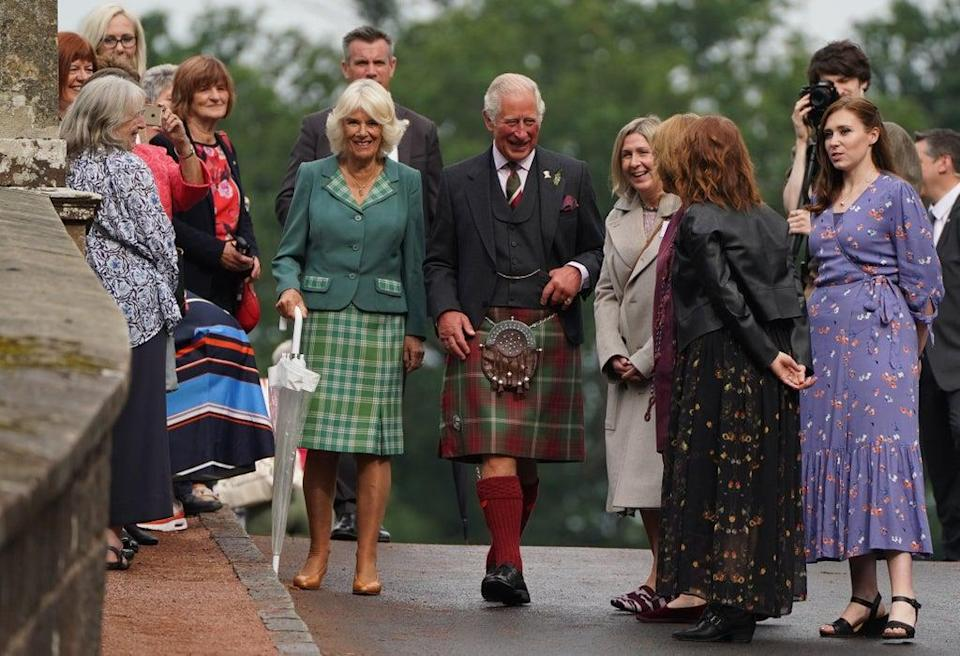 Charles and Camilla during their visit to Dumfries House in Ayrshire (Andrew Milligan/PA) (PA Wire)