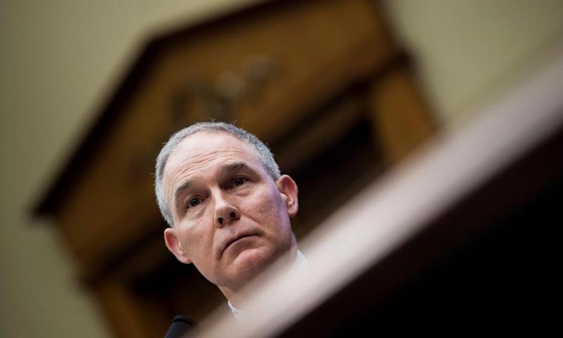 Scott Pruitt listens during a hearing before the House energy and commerce committee on 26 April.
