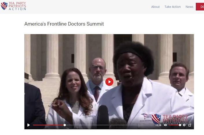 A screenshot from the Tea Party Patriots website shows video of the group that calls itself America's Frontline Doctors speaking earlier this week in Washington.
