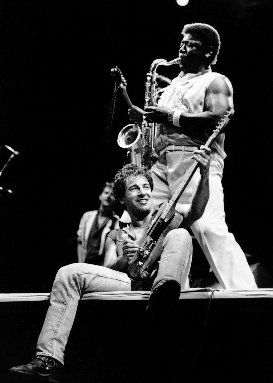 "FILE - Bruce Springsteen performs with sax player Clarence Clemons in Los Angeles Sept 28, 1985. Springsteen's latest album, ""Letter To You"" will be released on Oct. 23. (AP Photo/Lennox Mclendon, File)"