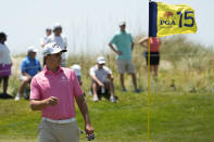 Christian Bezuidenhout, of South Africa, sizes up the breeze on the 15th hole during the second round of the PGA Championship golf tournament on the Ocean Course Friday, May 21, 2021, in Kiawah Island, S.C. (AP Photo/David J. Phillip)