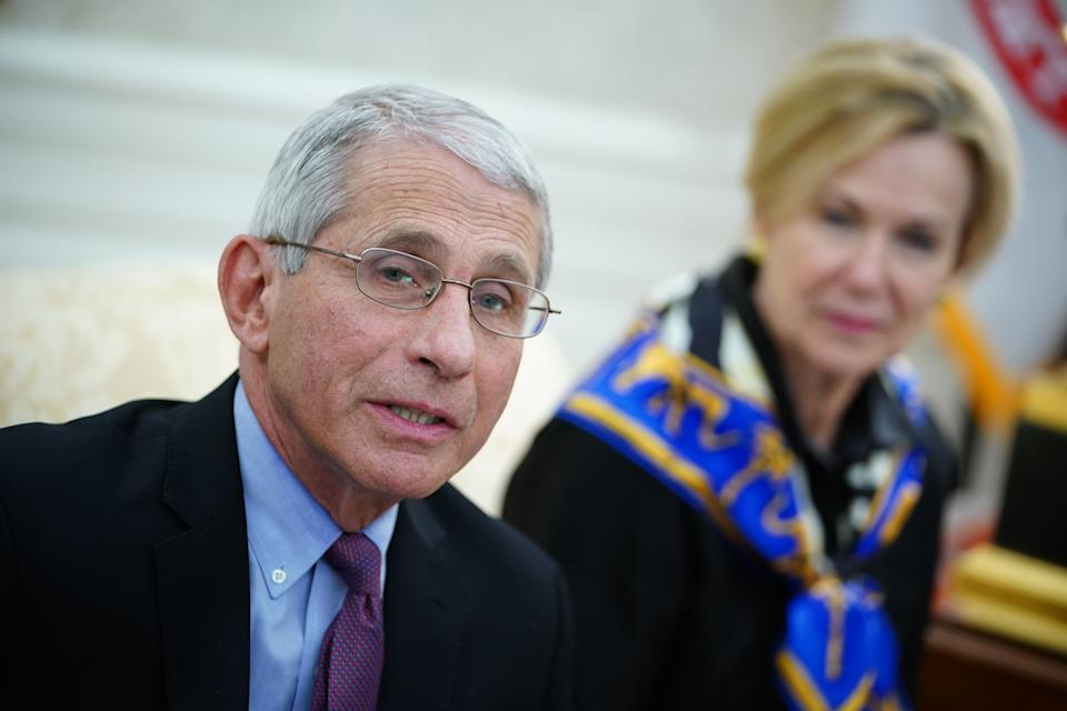 Dr. Anthony Fauci (L), director of the National Institute of Allergy and Infectious Diseases speaks as US President Donald Trump meets with Louisiana Governor John Bel Edwards(D-LA) in the Oval Office of the White House in Washington, DC on April 29, 2020. (Mandel Ngan/AFP via Getty Images)