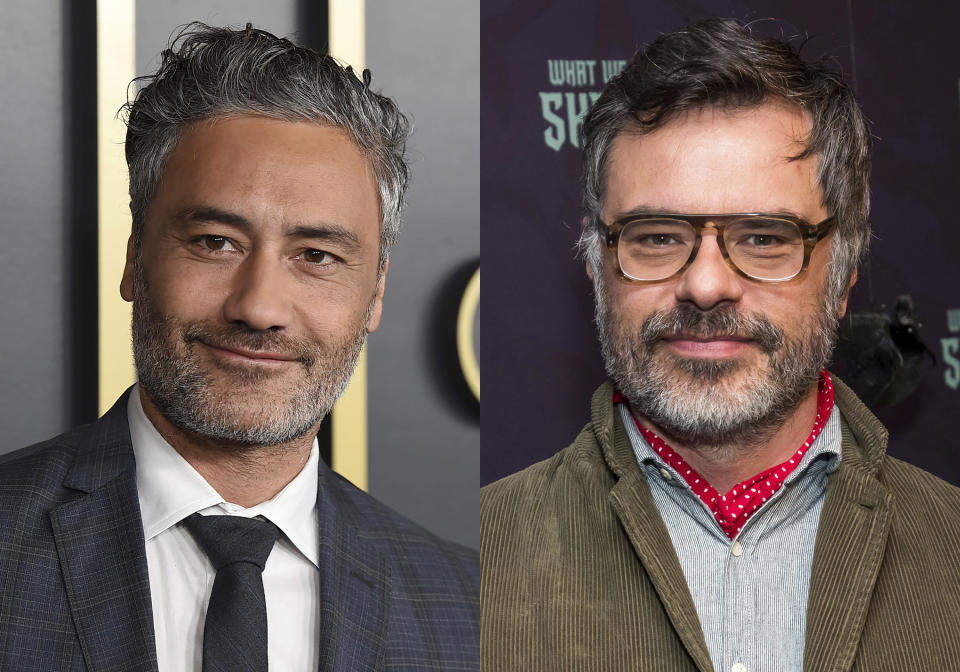 """Taika Waititi arrives at the 92nd Academy Awards Nominees Luncheon in Los Angeles on Jan. 27, 2020, left, and Jemaine Clement attends the premiere of FX's """"What We Do in the Shadows"""" in New York on March 19, 2019. Waititi and Clement are the creators of the series """"Wellington Paranormal,"""" premiering July 11 on The CW. (AP Photo)"""