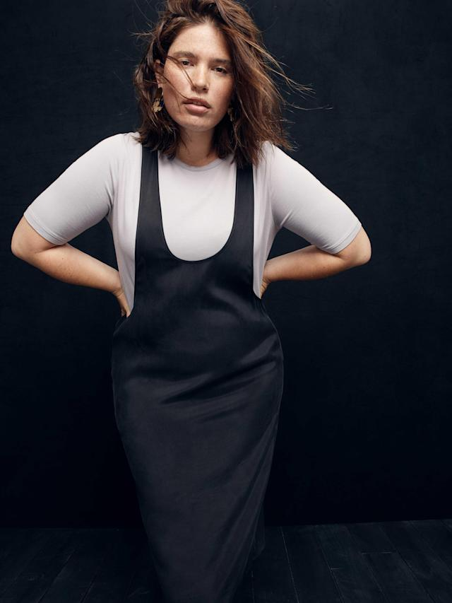 Model wears tee and black tank dress from the new, size-inclusive J.Crew collection with Universal Standard. (Photo: courtesy of J.Crew)