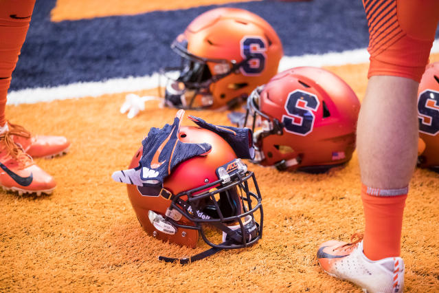 Syracuse signee Cooper Dawson had a heartwarming ceremony to announce his commitment. (Photo by Brett Carlsen/Getty Images)
