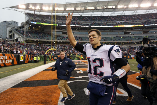New England Patriots quarterback Tom Brady (12) waves to the crowd after an NFL football game against the Cincinnati Bengals, Sunday, Dec. 15, 2019, in Cincinnati. (AP Photo/Frank Victores)