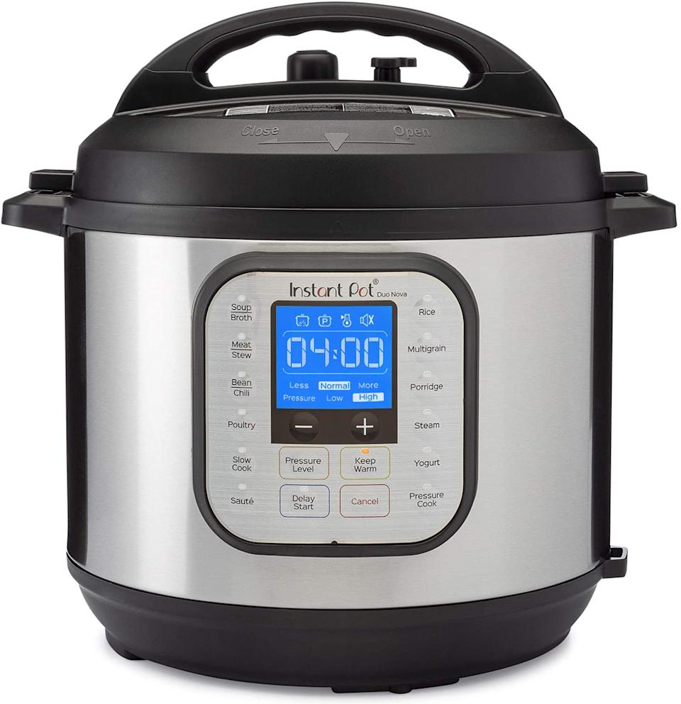 Instant Pot Duo Nova 7-in-1 Electric Pressure Cooker, Steamer, Saute & Yogurt Maker has 14 one touch programs to create your favourite meals in less time.
