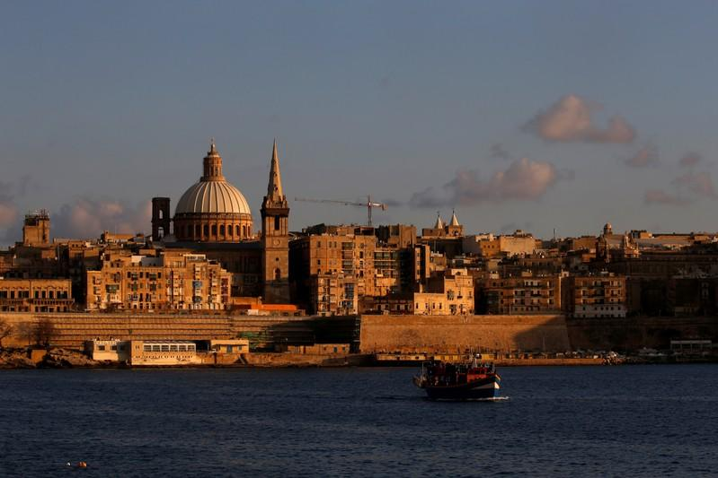 FILE PHOTO: The church spire and tower of St Paul's Anglican Pro-Cathedral are seen while undergoing urgent restoration works in Valletta