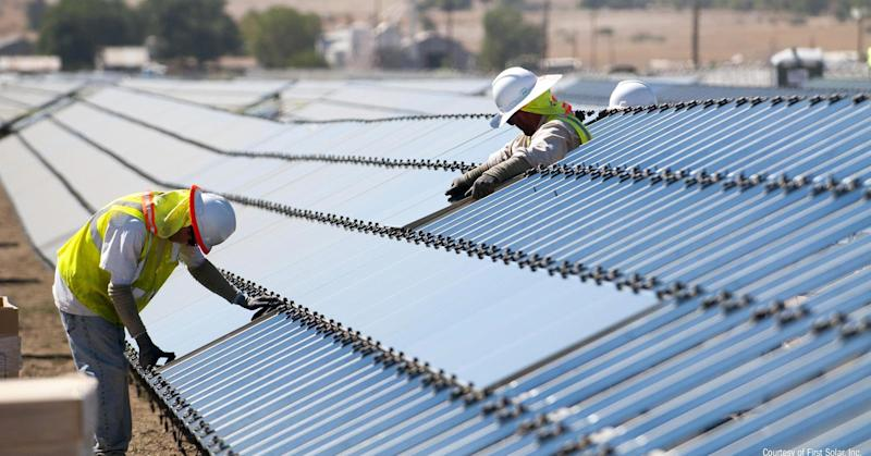 Shares of First Solar jump following reports of a carbon tax