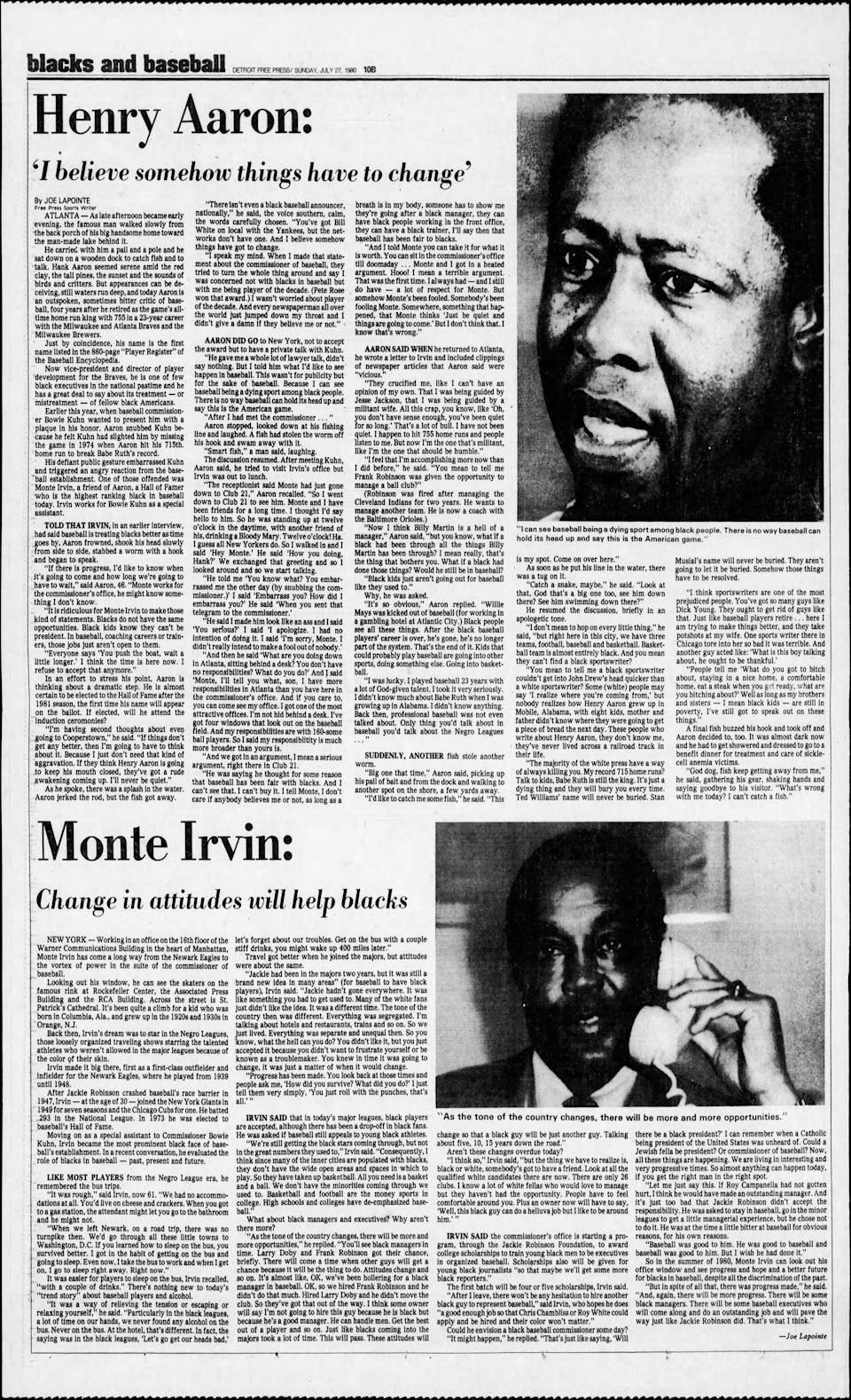Page 10B of the sports section of the Detroit Free Press on July 27, 1980.