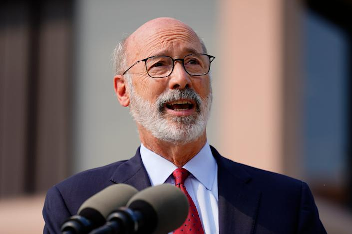 Gov. Tom Wolf speaks at a COVID-19 vaccination clinic at the Reading Area Community College in Reading, Pa., Tuesday, Sept. 14, 2021.