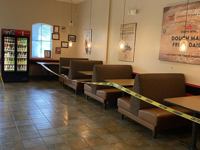 This May 16, 2020 photo provided by Kolache Factory shows the dining area of Kolache Factory in Houston.  Businesses reopening across states after months of shutdown have been met with fanfare. But now that states like Texas, Arizona and elsewhere are seeing alarming surges in reported cases, businesses large and small face the quandary of deciding whether or not to close or scale back reopening, this time, with little government guidance.  (via AP)
