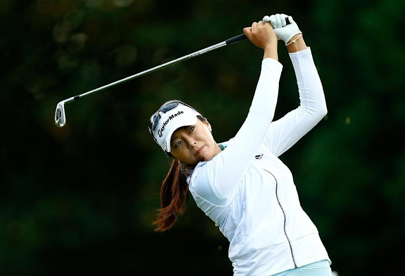 Hur Mi-Jung tees off on the 2nd hole during the third round of the LPGA Portland Classic on August 30, 2014 in Portland, Oregon