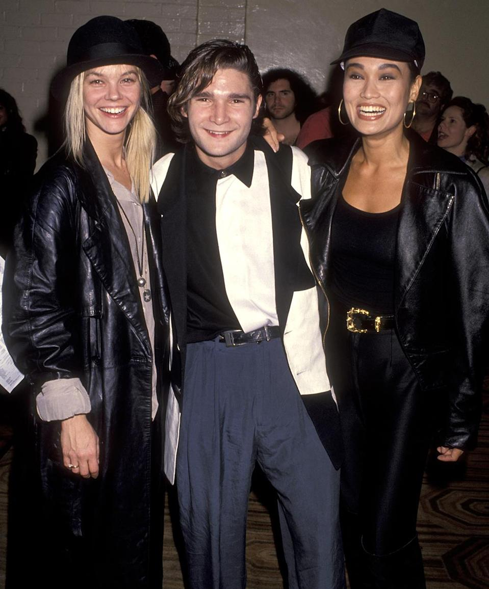 <p>The 'Growing Pains' actress and 'Lost Boys' actor pose with the 'Wayne's World' costar at the L.A. premiere. (Photo: Ron Galella/WireImage) </p>