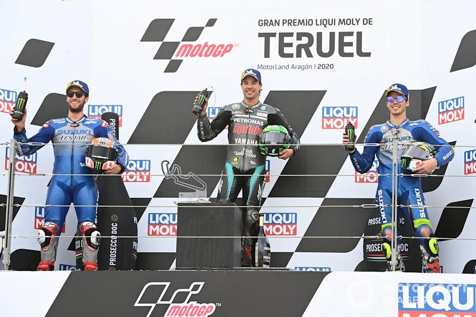 "Podio: Alex Rins, Team Suzuki MotoGP, Franco Morbidelli, Petronas Yamaha SRT, Joan Mir, Team Suzuki MotoGP<span class=""copyright"">Gold and Goose / Motorsport Images</span>"