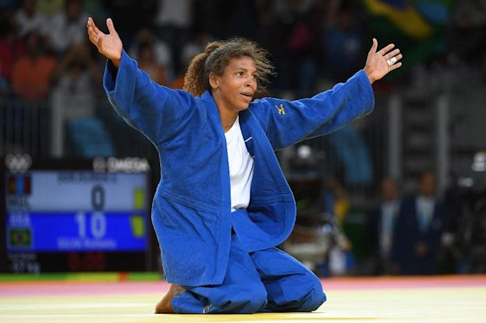 "Rio gold medal-winning judoka Rafaela Silva was called a ""monkey"" after being disqualified at the London Olympic Games four years ago (AFP Photo/Toshifumi Kitamura)"
