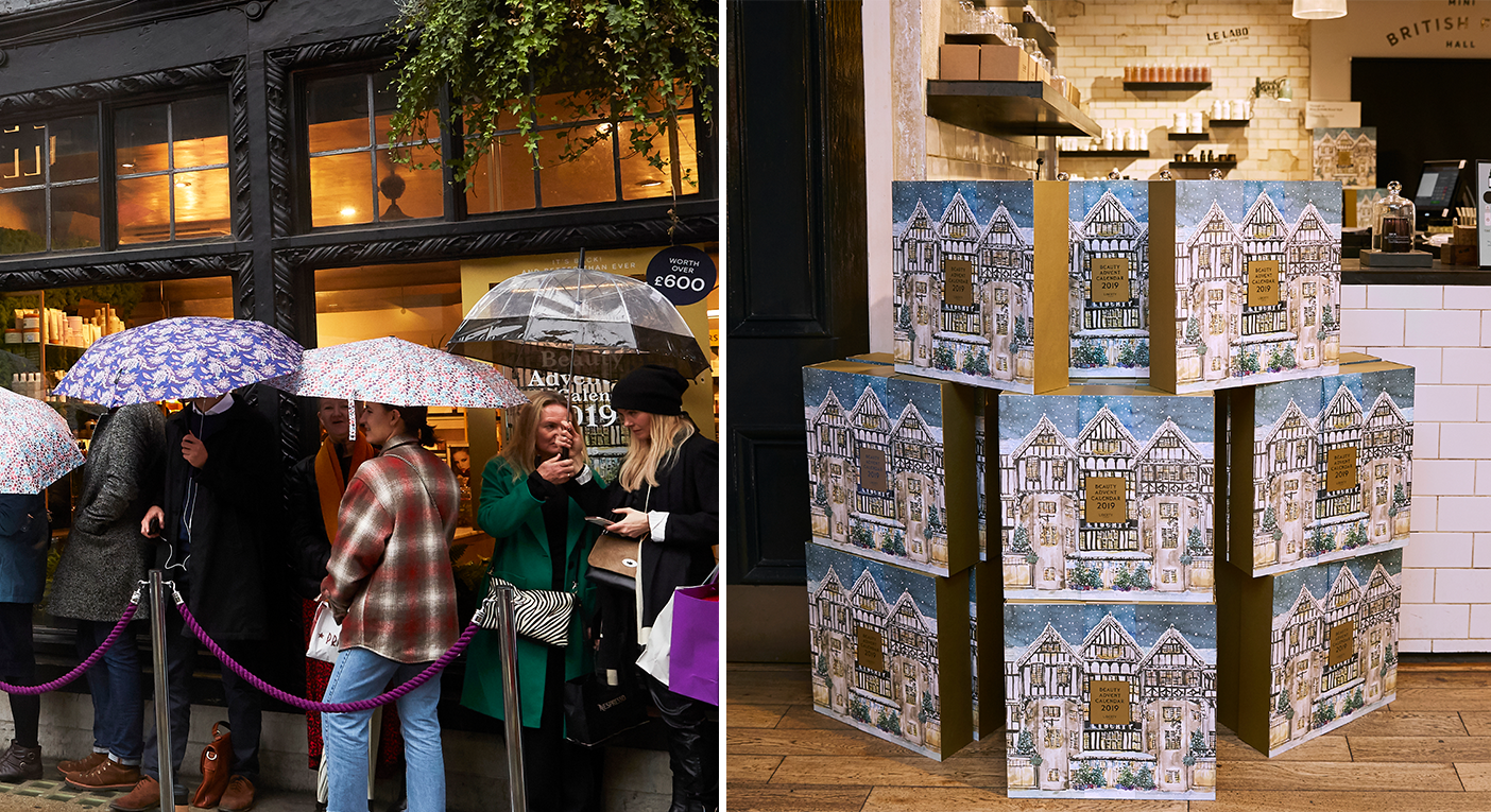 Customers queued around the corner in the rain to get their hands on Liberty's 2019 Beauty Advent Calendar. Photo: [Liberty London]