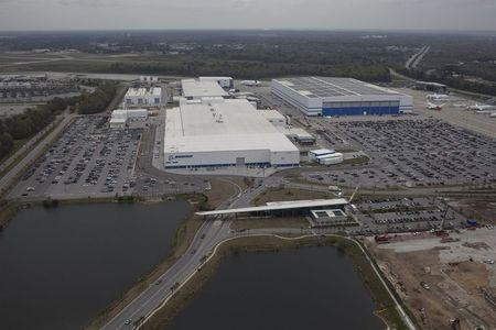 Aerial view shows the Boeing plant in North Charleston