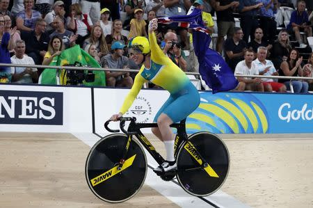 Track Cycling - Gold Coast 2018 Commonwealth Games - Women's Team Sprint Finals - Anna Meares Velodrome - Gold Coast, Australia - April 5, 2018. Stephanie Morton of Australia celebrates after winning the gold medal. REUTERS/Paul Childs