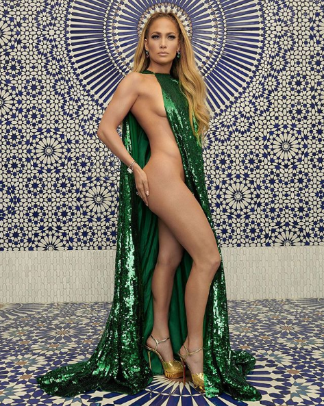 JLo baring all in this green number. Photo: Instagram/JLo