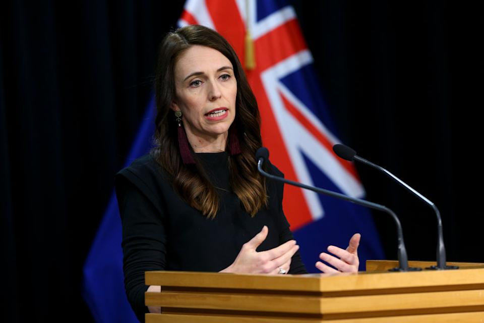 Prime Minister Jacinda Ardern speaks to media during a post cabinet press conference at Parliament in Wellington, New Zealand.