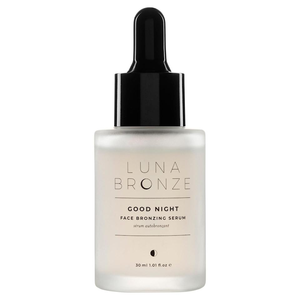"""I love self tanners in theory, but I live in perpetual fear of ruining my new white bedding with guide color. The solution: This gradual bronzing serum that goes on totally clear and develops overnight, with no risk of ruined pillowcases. The color is subtle, streak-free, and buildable over several applications, which makes it basically impossible to mess up. It's also got additional skin-care benefits like vitamin C and hydrating botanical extracts that ensure I wake up as glowy as humanly possible. – <em>S.Y.W.</em> $46, Revolve. <a href=""""https://shop-links.co/1744799651411674133"""" rel=""""nofollow noopener"""" target=""""_blank"""" data-ylk=""""slk:Get it now!"""" class=""""link rapid-noclick-resp"""">Get it now!</a>"""