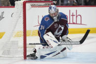 Colorado Avalanche goaltender Philipp Grubauer reacts after giving up a goal to Vegas Golden Knights right wing Alex Tuch during the third period of Game 5 of an NHL hockey Stanley Cup second-round playoff series Tuesday, June 8, 2021, in Denver. (AP Photo/David Zalubowski)