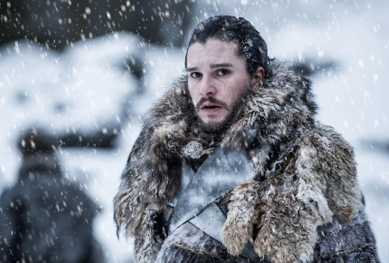 <p>Jon Snow appears frightened of something on the horizon<span>.</span></p>