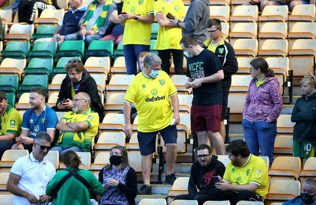 Up to 1,000 fans were allowed to attend Norwich's Championship clash with Preston at Carrow Road in September (Nigel French/PA).
