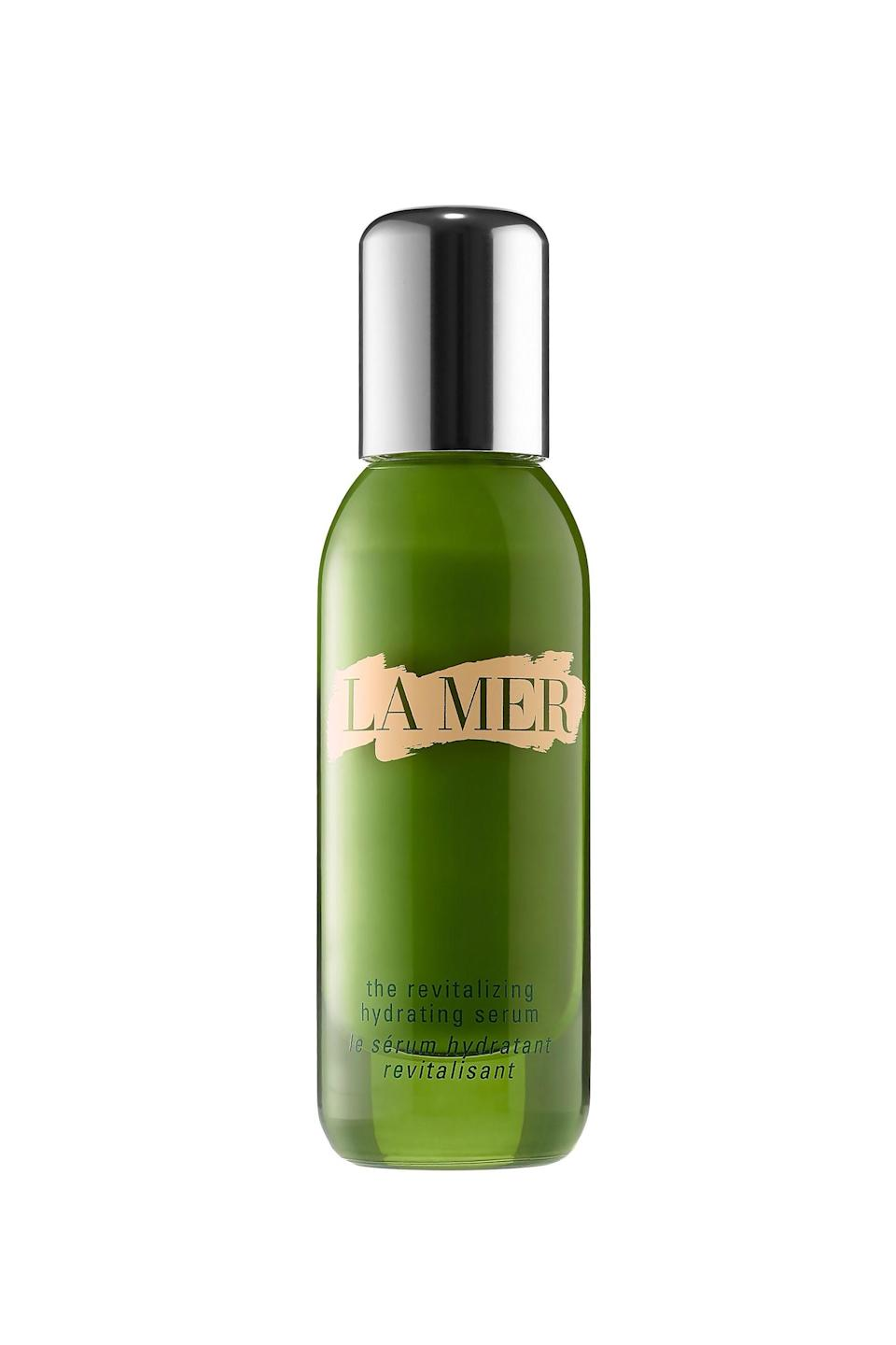 """<p><strong>La Mer</strong></p><p>neimanmarcus.com</p><p><strong>$230.00</strong></p><p><a href=""""https://go.redirectingat.com?id=74968X1596630&url=https%3A%2F%2Fwww.neimanmarcus.com%2Fp%2Fprod196390154&sref=https%3A%2F%2Fwww.elle.com%2Fbeauty%2Fmakeup-skin-care%2Ftips%2Fg8091%2Fface-serum%2F"""" rel=""""nofollow noopener"""" target=""""_blank"""" data-ylk=""""slk:Shop Now"""" class=""""link rapid-noclick-resp"""">Shop Now</a></p><p>When tall drinks of water and a constantly running humidifier aren't doing the job for your parched skin, douse it with this seriously hydrating serum. Like La Mer's other offerings, this formula mines the power of the ocean to save your face (in this case drenching it with a nourishing algae blend).</p>"""