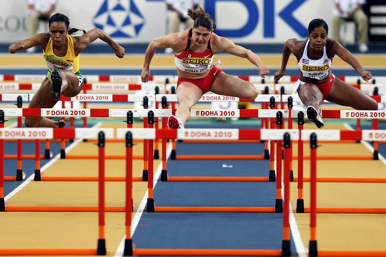 Priscilla Lopes-Schliep of Canada competes in the Womens 60m Hurdles Final during Day 2 of the IAAF World Indoor Championships at the Aspire Dome on March 13, 2010 in Doha, Qatar.