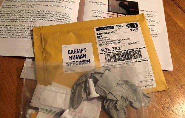 The test kits sent out by Statistics Canada contain gloves, alcohol swabs and a device for pricking your finger. (Angela Walker/CBC - image credit)